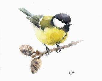 Tit - Original Watercolor Painting 7 4/5 x 7 4/5 inches Bird