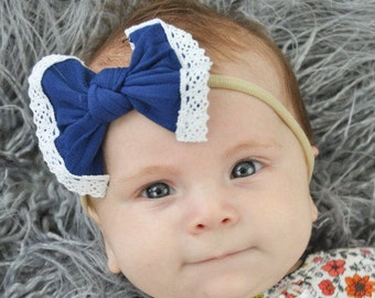 Navy Blue Nylon and Lace bow, headband set 1 size fits all, comfy baby newborn girls hair, Fall. Autumn