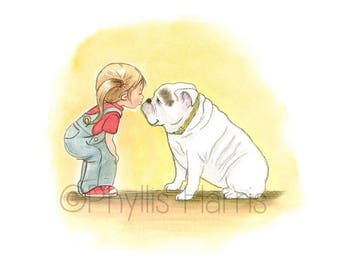 Little girl and her bulldog art print - English Bulldog and little girl