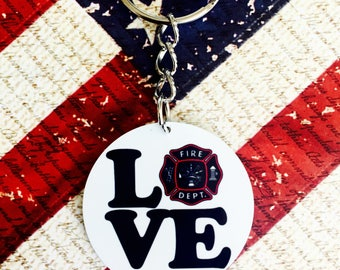 LOVE Fire Department Aluminum Keychain
