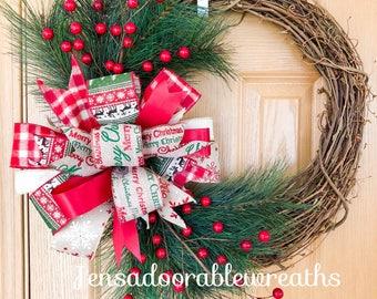Winter grapevine wreath, grapevine wreath, Christmas grapevine wreath, Christmas wreath