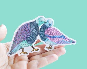 Vinyl Love Birds Sticker - Waterproof Sticker, Birds Decal, Laptop Sticker, Diary Sticker, Love Sticker, Couple Sticker