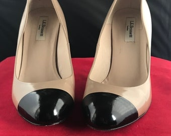 L.K. Bennett Black and Taupe Leather Stilettos Size 8.5/39