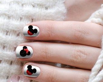 Nail design logo etsy mickey ears nail decals nail design nails press on nail decal nail prinsesfo Images