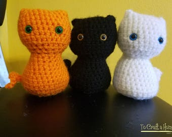 Small Crochet Cat available in multiple colors- Cat Toy- Crochet Cat- Black Cat