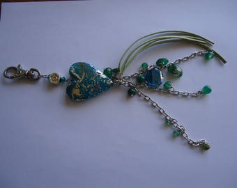 Bag key holder with turquoise heart