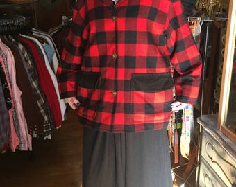 Vintage Red and Black Plaid Buffalo Check Barn Jacket Coat