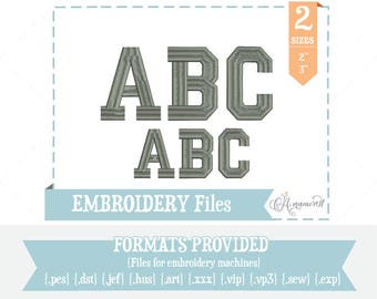 2 sizes College Athletic Embroidery Font/Alphabet for Embroidery Machines, Embroidery File Download, School Athletic font, BX font
