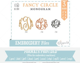 """2"""",3"""" & 4"""" Fancy Circle Embroidery Font. Embroidery Alphabet for embroidery machine  Embroidery Font  Embroidery Monogram BX font"""