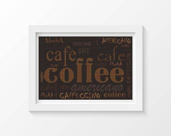Cross Stitch Kit, Coffee Menu Cross Stitch, Embroidery Kit, Art Cross Stitch (ART032)