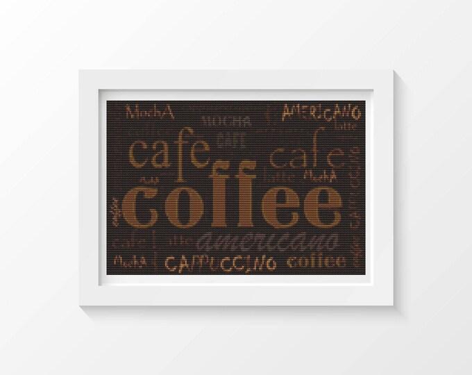 Cross Stitch Kit, Embroidery Kit, Art Cross Stitch, Coffee Menu Cross Stitch (ART032)