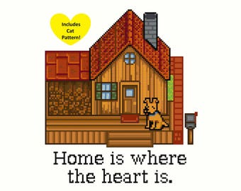 """Stardew Valley Cross-Stitch Pattern - """"Home is where the heart is"""" (Includes Dog & Cat Patterns!)"""