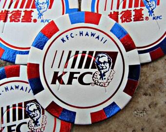 1990s / Set Of Four (4) KFC; Kentucky Fried Chicken Pogs / Shiny Red & Shiny Dark Blue / Two Hawaii KFC / Two China KFC / Colonel Sanders