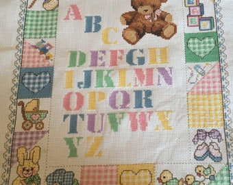 ABC completed cross stitch