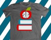 Apple svg file, Monogram svg, Teacher svg, Fruit svg, Cute svg, SVG DXF, EPS