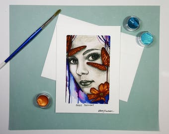 Girl Illustration Greeting Card, Abstract Art Card, Butterflies Portrait Watercolor Painting, Unique Handmade Card, Thank You Card, 5x7 Card