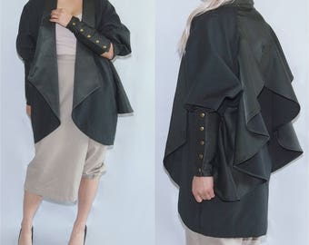 ELLA - Green ruffle back victorian cuff jacket coat blazer suit