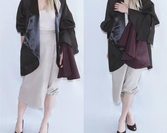NELA - petal bell sleeve ruffle black jacket blazer suit coat black burgundy