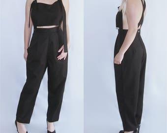 ELY - crop top backless cross back suspender overalls jumpsuit romper pantsuit