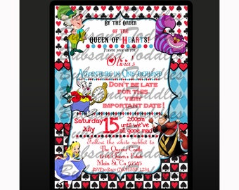Disney Alice in Wonderland Birthday Invitations, Invites
