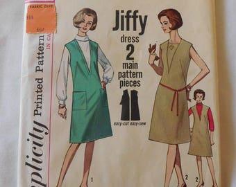 1964 sIMPLICITY pattern 5536 Misses 1 piece dress jumper size 18 uncut