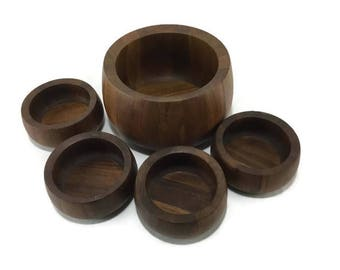 MidCentury Modern Salad Bowl Set * Quistgaard for Dansk * Staved Teak Wood * Malaysia IHQ