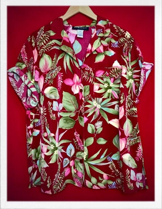 "Vintage Women's Hawaiian Shirt Size 1X 25"" width 28"" length"