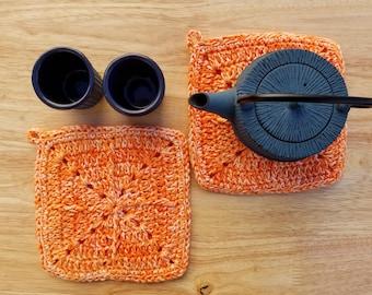 Set of 2 Crochet Pot Holders/Hot Pads, homemade, handmade, hostess gifts, housewarming gift, bright orange kitchen set