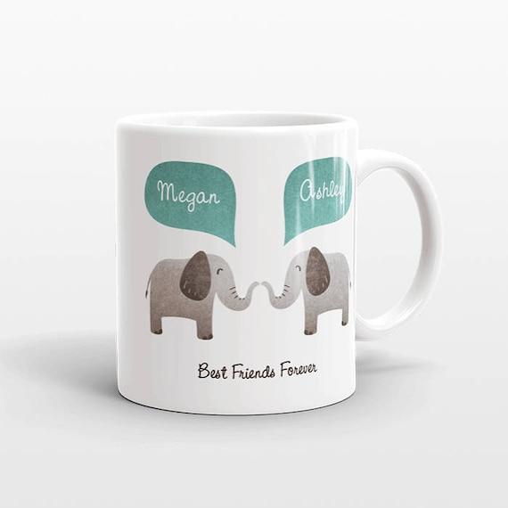 Best Friend Gift, Elephant Mug, Personalized Best Friend Mug, Animal Best Friend Coffee Mug, Unique Friendship Gift, Friend Birthday Gift