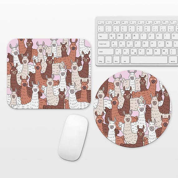 Llama Mouse Pad Llama Mousepad Llama Lover Gift LLama Gift Fun Mouse Pad Funny Mouse Pad Cute Mousepad Pink Desk Decor Office Accessories