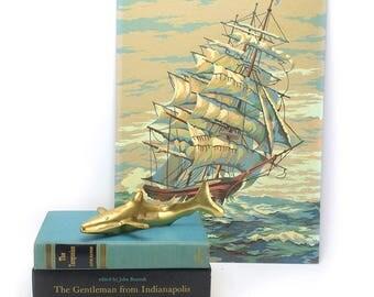 Vintage Brass Shark Figurine - Gold Sea Life Beach House Decor - Nautical Ocean Animals Kids Nursery - Hollywood Regency Mid Century Jaws