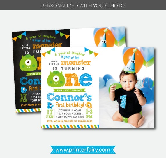 Little Monster Invitation with photo Monster Birthday Party Little