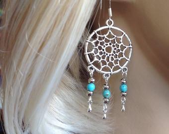 Blue and Silver Drop Earrings, Dreamcatcher Earrings, Spider Web Earrings, Turquoise Bead Earrings, Chandelier Earrings  J031