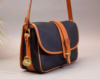 Dooney & Bourke Equestrian, Navy Pebbled All Weather Leather Vintage Cross Body bag, AWL Equestrian, Made in USA A4 263451, SammieDoos
