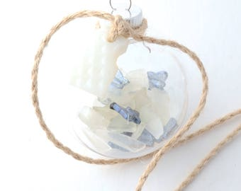"""Iridescent Blue Butterflies & Rhode Island White Sea Glass Filled Clear Plastic Ball Ornament with Milk White Pyrex Sea Glass on Tan Jute 2"""""""