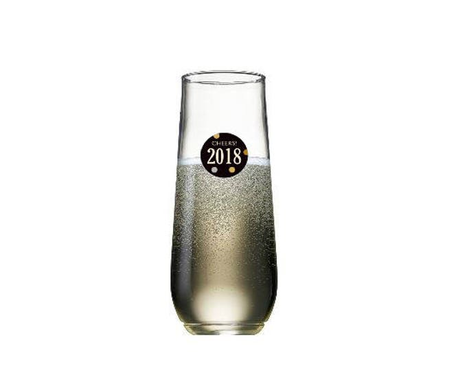 New Years Eve Wine Glass Decals Disposable, 2018 - 10 Pack - Glass Not included