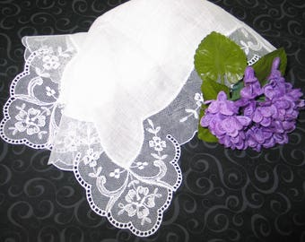 VTG Antique Needle Run Embroidery Net Lace Handkerchief Hanky~Bridal-Flowers
