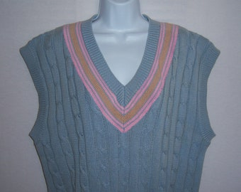 Vintage Traditional Trading Co. Light Blue Pink Khaki Cricket Tennis Cable Knit Cotton Sweater Vest Medium M Deadstock NWT NOS