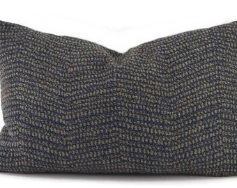 Blue & Gray Woven Chevron Lumbar Throw Pillow Cover, 12x20