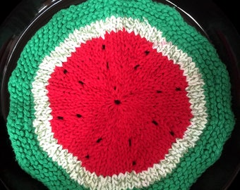 Watermelon Dishcloth [hand-knit]