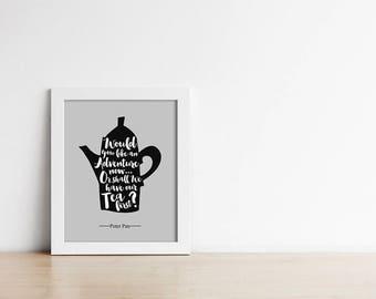 Peter Pan Nursery Art PRINTABLE - Grey - Black - Nursery Print - Art Print - Baby Shower - Quote - Would you like an adventure now - SKU:499