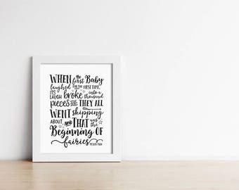 Peter Pan Nursery Art Print - When the first baby laughed - Nursery Decor - Wall Art - Black and White - Baby Shower Gift - SKU:858