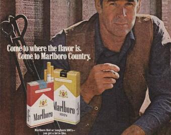 1976 Advertisement Marlboro Cigarettes Marlboro Country Retro Vintage Wall Art Decor Cigarette Advertising Pub Bar Gift for Him Cowboy