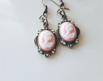 Vintage Cameo Earrings Pink or Gold Victorian Cameo Earrings Crystal Earrings Weddings Bridesmaids Statement Earrings Gold or Pink Dangle