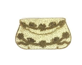 Beaded purse, beaded clutch, Gatsby purse, vintage purse, 1930s style purse, vintage clutch, bronze clutch