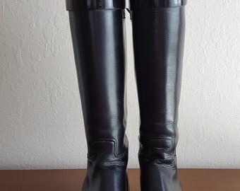 EQUESTRIAN Ladies Leather RIDING BOOTS Vintage* Made in England Beckwith's Boston* Tall Black Leather Size 6.5A * Black Leather Boots