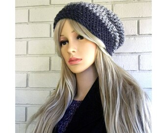 Gray Slouchy Hat, Womens Slouchy Beanie, Crocheted Hat, Winter Hat, Gray Tweed, Gift for Teen,  Winter Accessory, Ready to ship