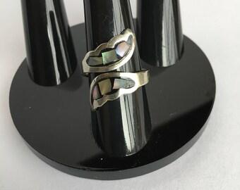 Alpaca Mexico Abalone Inlay Silver Adjustable Ring
