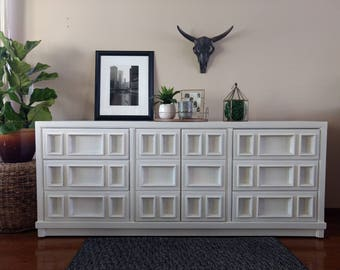 SOLD to Katie - Modern White Sideboard/Buffet/Dresser/Credenza  - Hand Painted Vintage Furniture