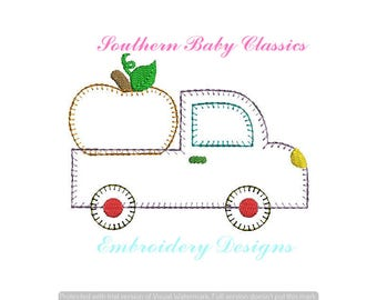 Pumpkin Antique Truck Vintage Applique Blanket Quick Stitch Design File for Embroidery Machine Instant Download Preppy Fall Autumn